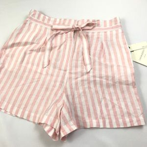 Cynthia Rowley Pink Stripe Hi Waist Shorts L FF